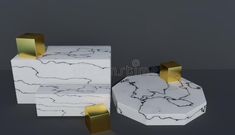 Podio rendido 3D abstracto para las presentaciones hechas del mármol blanco y adornadas con los cubos del oro stock de ilustración