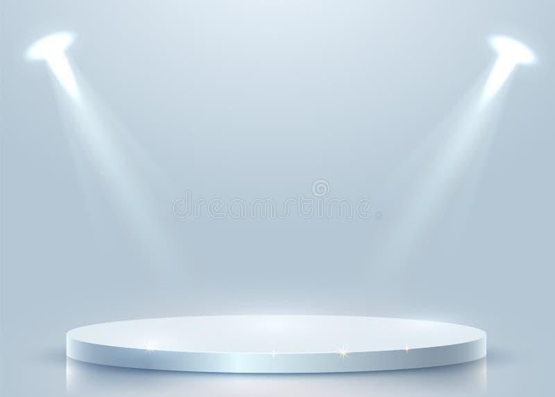 Podio rotondo astratto illuminato con il riflettore Concetto di cerimonia di premiazione Contesto della fase illustrazione vettoriale