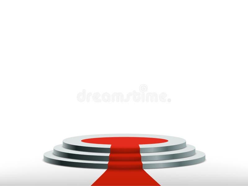 Podio rotondo con tappeto rosso Fondo per la cerimonia di premiazione illustrazione vettoriale