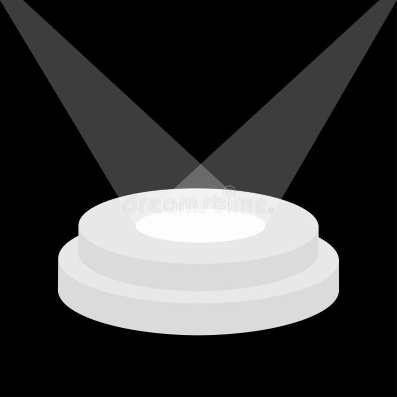 Podio rotondo della fase illuminato dai riflettori Piedistallo vuoto per esposizione piattaforma realistica 3d per progettazione  royalty illustrazione gratis