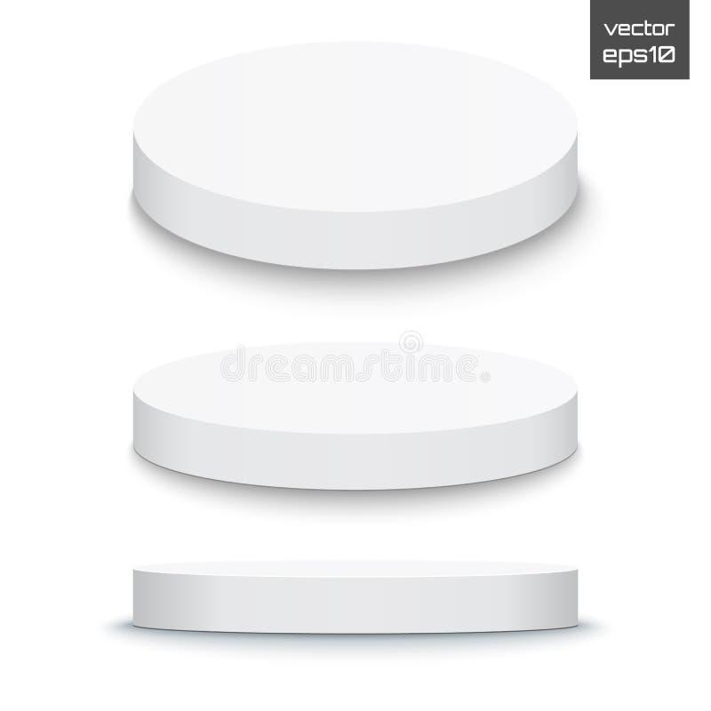Podio rotondo della fase isolato su fondo bianco piedistallo 3d Vettore illustrazione vettoriale