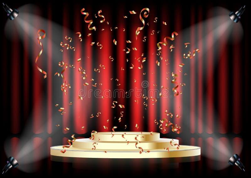 Podio su fondo della tenda rossa Piedistallo vuoto per cerimonia di premiazione Piattaforma illuminata dai riflettori illustrazione di stock