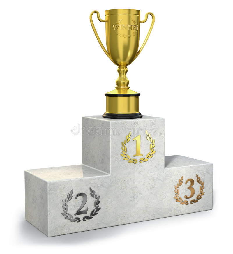 Podium. Illustration of a podium with gold trophy stock illustration