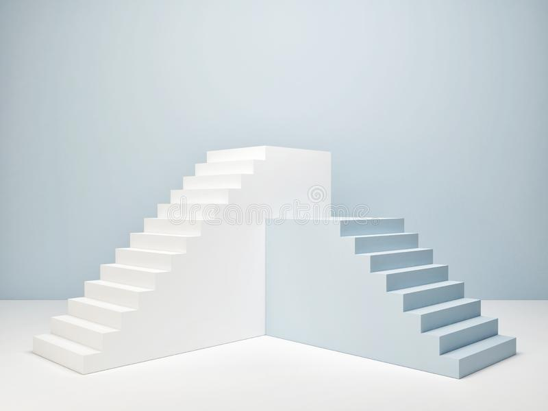 Podium in abstract room, blue room royalty free stock images