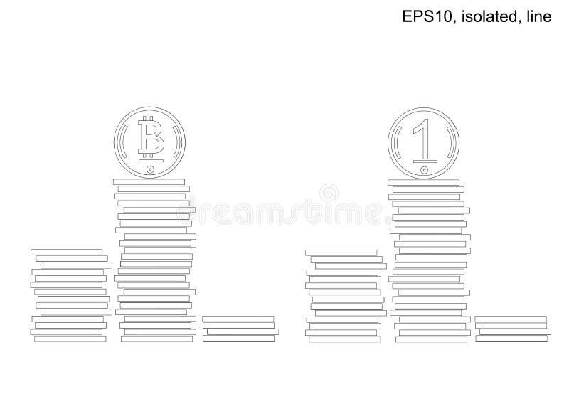 Podium av buntar av mynt royaltyfri illustrationer