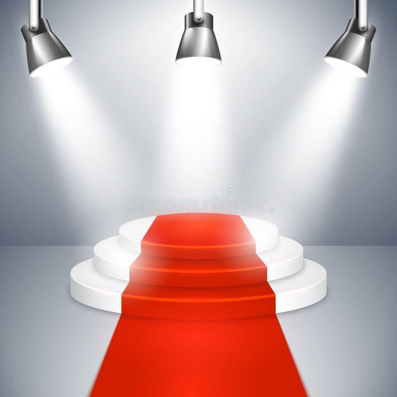 Podium avec le tapis rouge illustration de vecteur