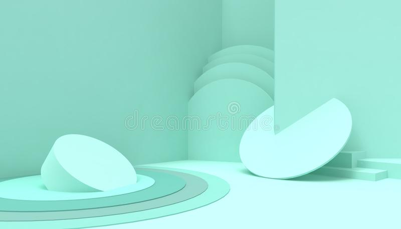 Podium  Circle  Geometric composition shape minimal and Modern concept Art  pastel green  wall scene on green background royalty free illustration
