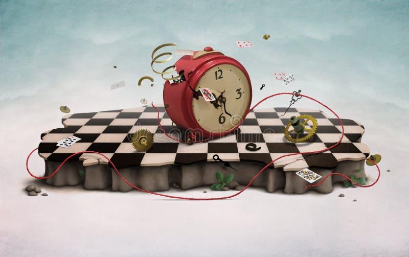Podium con el reloj, las tarjetas y la cuerda stock de ilustración