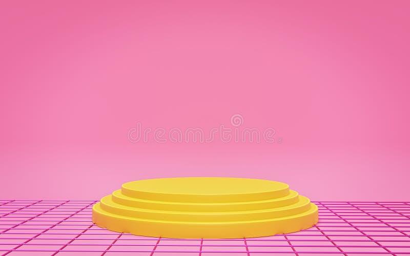 Podium d'étape avec la grille abstraite Copiez l'espace Fond intérieur pour la présentation de produit rendu 3d illustration stock