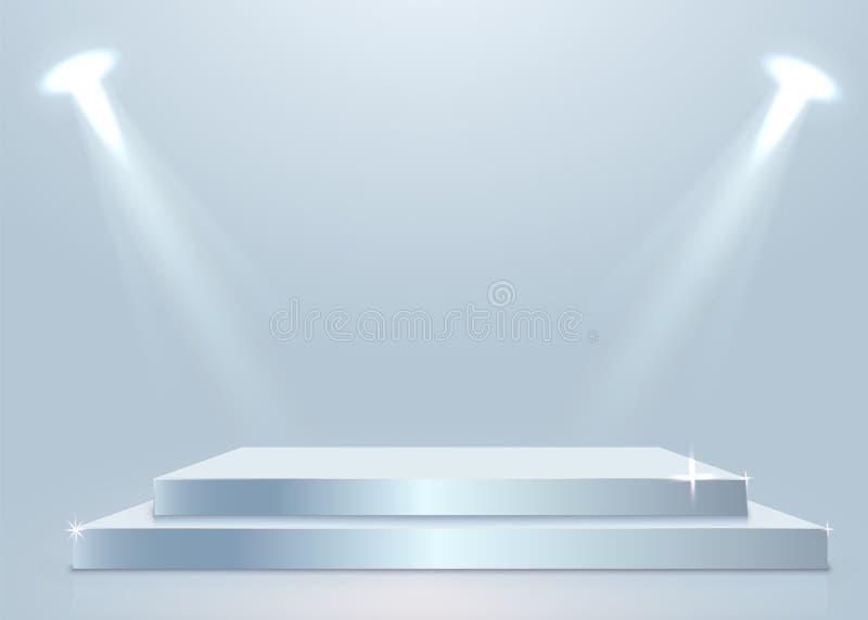 Podium d'?tape avec l'?clairage, sc?ne de podium d'?tape avec pour la c?r?monie de remise des prix sur le fond blanc illustration libre de droits