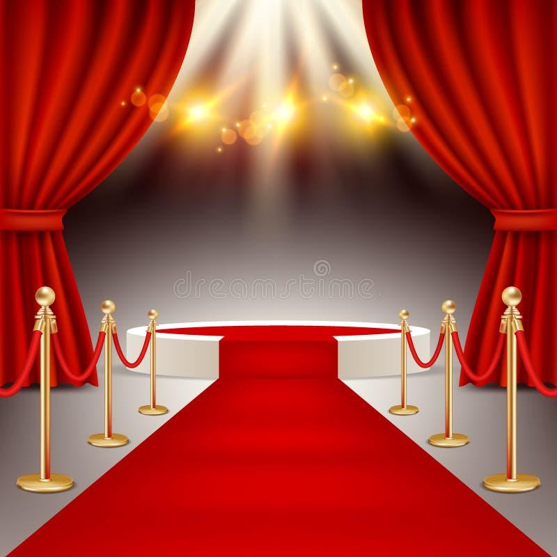 Podium de gagnants avec l'illustration réaliste de vecteur de tapis rouge illustration libre de droits