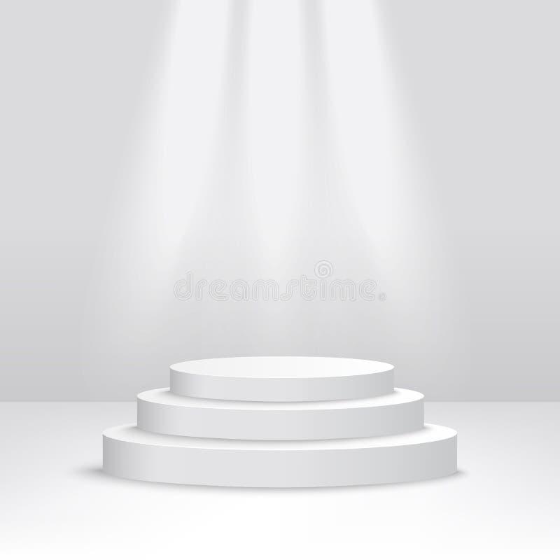 Podium de Hite pour la récompense de gagnant de concurrence, pyramide en trois étapes d'escalier des plates-formes de cylindre illustration de vecteur