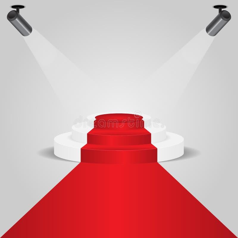 Podium de tapis rouge avec le projecteur illustration stock