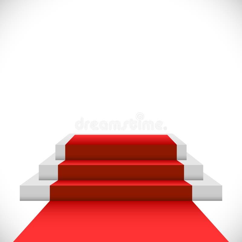 Podium en trois étapes vide avec le tapis rouge illustration stock