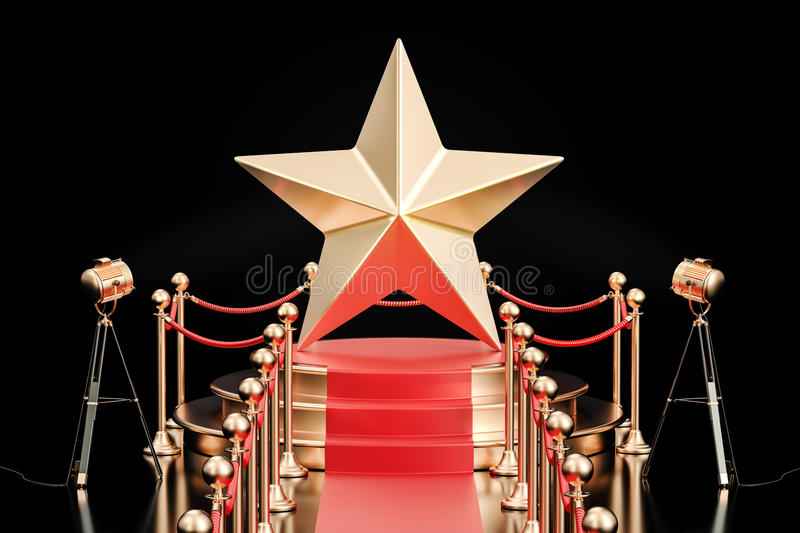 Podium with golden star, 3D rendering royalty free illustration