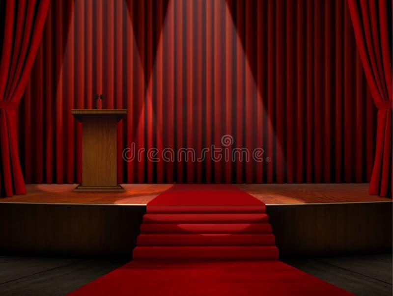 Podium i czerwony chodnik na scenie ilustracja wektor