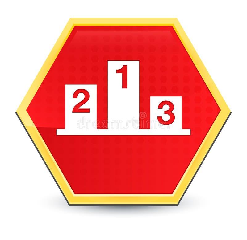 Podium icon abstract red hexagon button bright yellow frame elegant design vector illustration