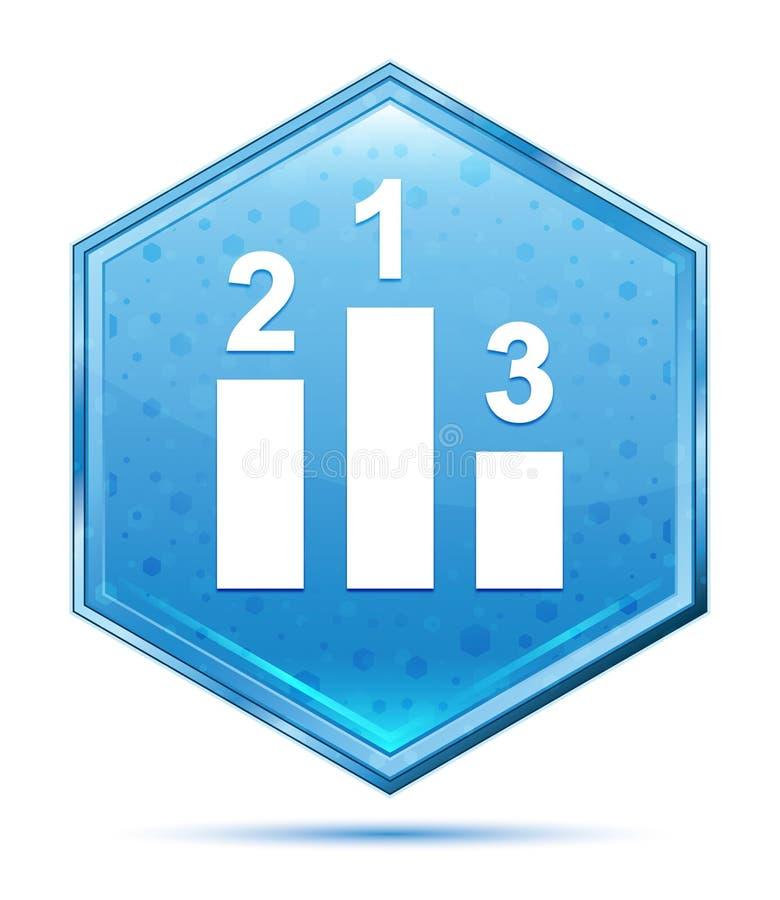 Podium icon crystal blue hexagon button vector illustration