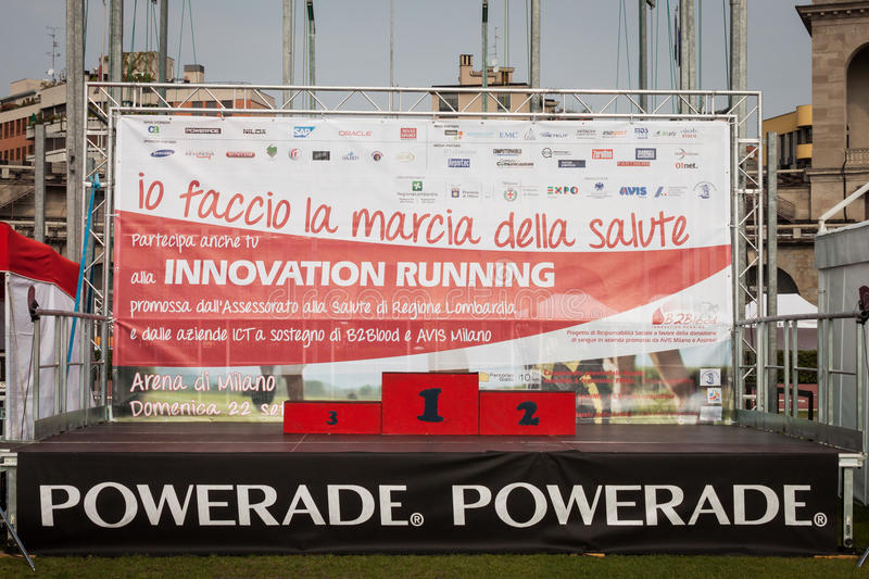 Podium at the Innovation Running in Milan, Italy stock photography