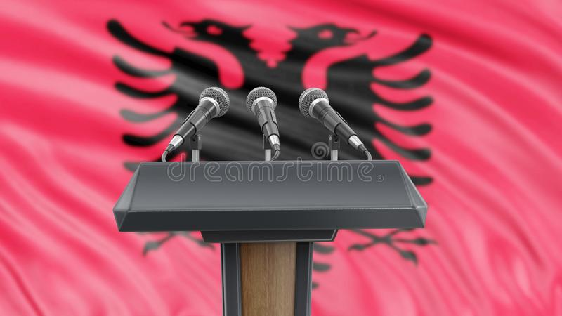 Podium lectern with microphones and Albanian flag in background. 3d Image of Podium lectern with microphones and Albanian flag in background stock illustration