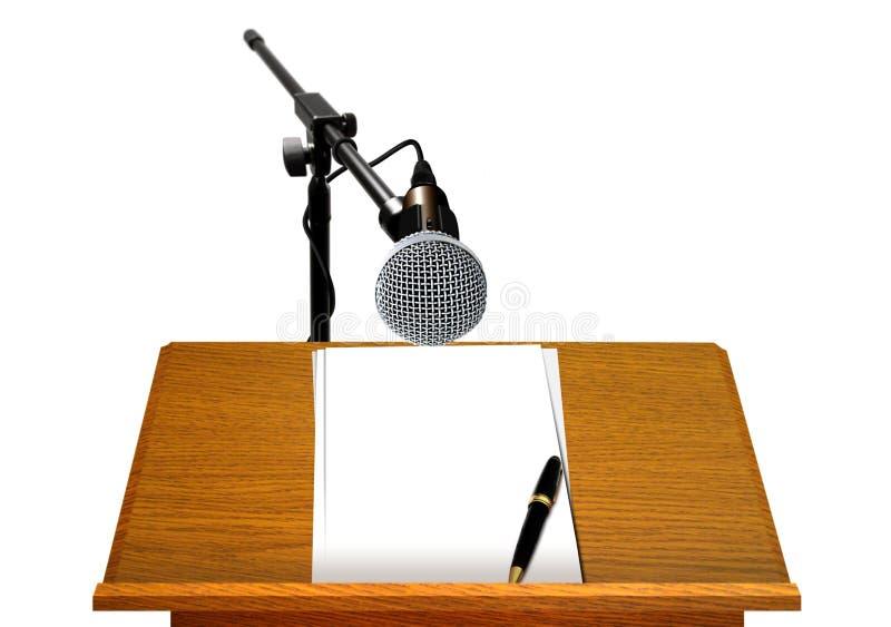 Podium med mikrofonen och tom legitimationshandlingar royaltyfria foton
