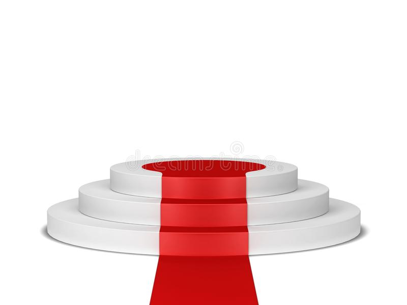 Podium med röd matta stock illustrationer