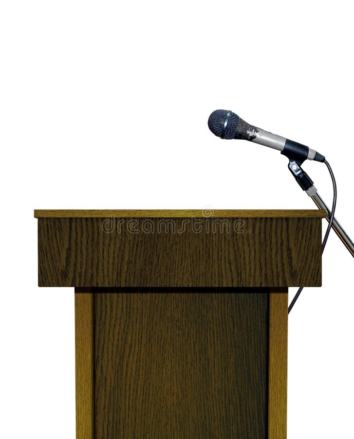 Download Podium with Microphone stock photo. Image of brown, tribune - 36969248
