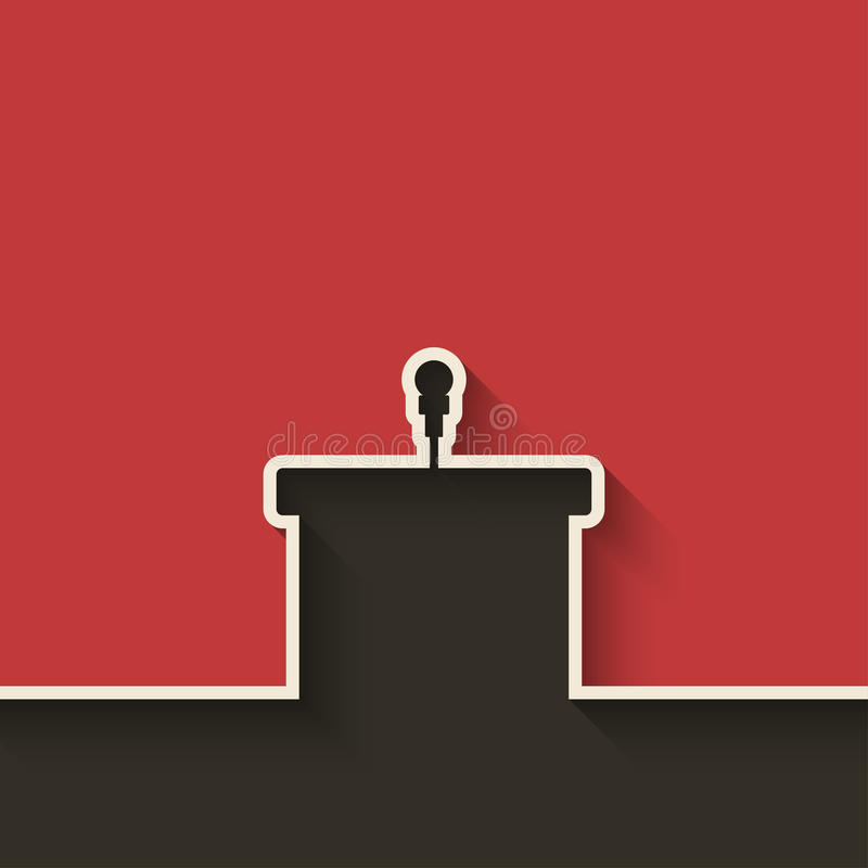 Podium with microphone. Red background - vector illustration. eps 10 stock illustration