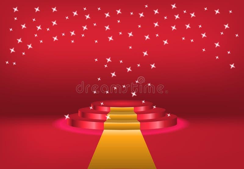 Podium mit Vorhang auf hellem Hintergrund leere Plätze für Auszeichnung , roter Teppich und helles Studio Zeremonie-Champion illu lizenzfreie abbildung