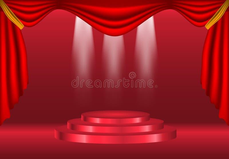 Podium mit Vorhang auf hellem Hintergrund leere Plätze für Auszeichnung , roter Teppich und helles Studio Zeremonie-Champion illu vektor abbildung