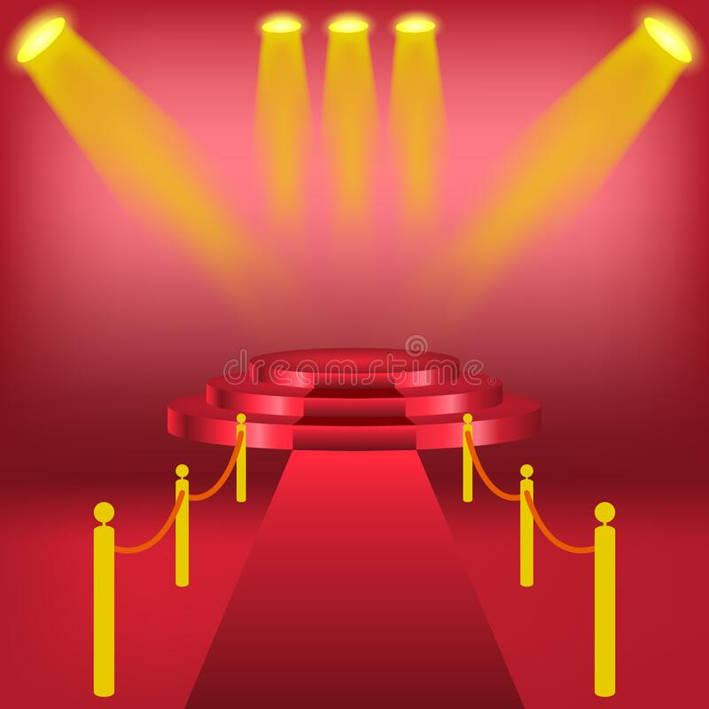 Podium mit Vorhang auf hellem Hintergrund leere Plätze für Auszeichnung , roter Teppich und helles Studio Zeremonie-Champion illu stock abbildung