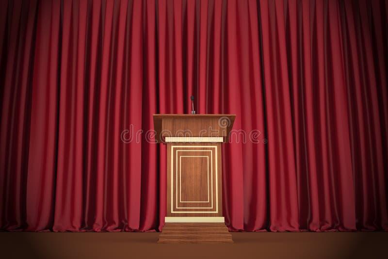 Podium och mikrofon i mitt av den sceniska etappen royaltyfri illustrationer