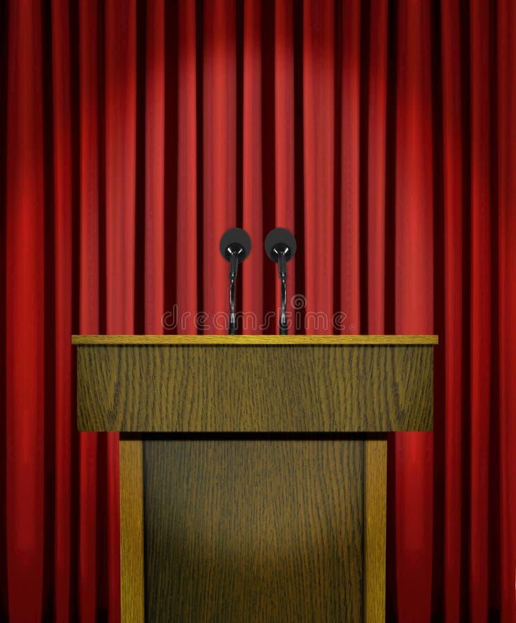 Podium och mikrofoner över röda gardiner royaltyfri illustrationer