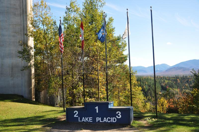 Podium olympique de champion de Lake Placid, New York image stock