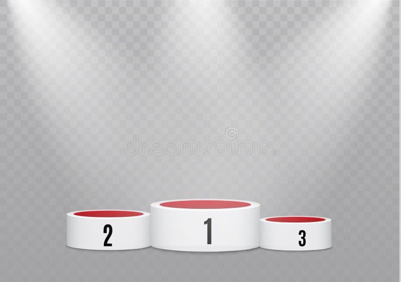 podium op een transparante achtergrond het podium van winnaars met verstralers Schijnwerper Verlichting Vector illustratie stock illustratie