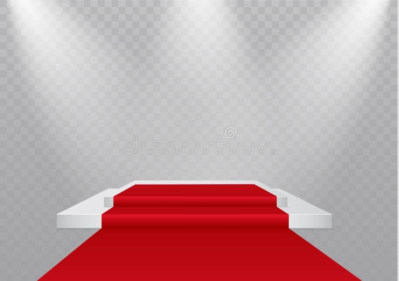podium op een transparante achtergrond het podium van winnaars met verstralers Schijnwerper Verlichting Vector illustratie vector illustratie