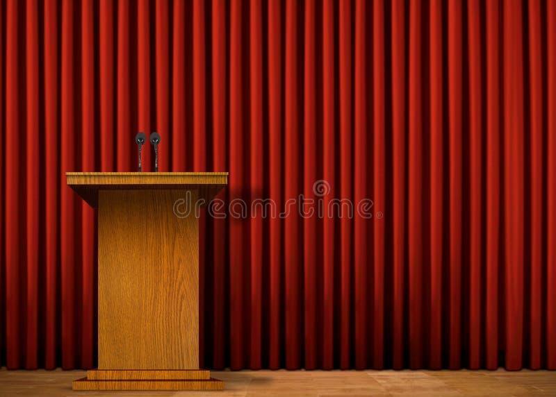 Podium på etapp över den röda gardinen royaltyfri illustrationer