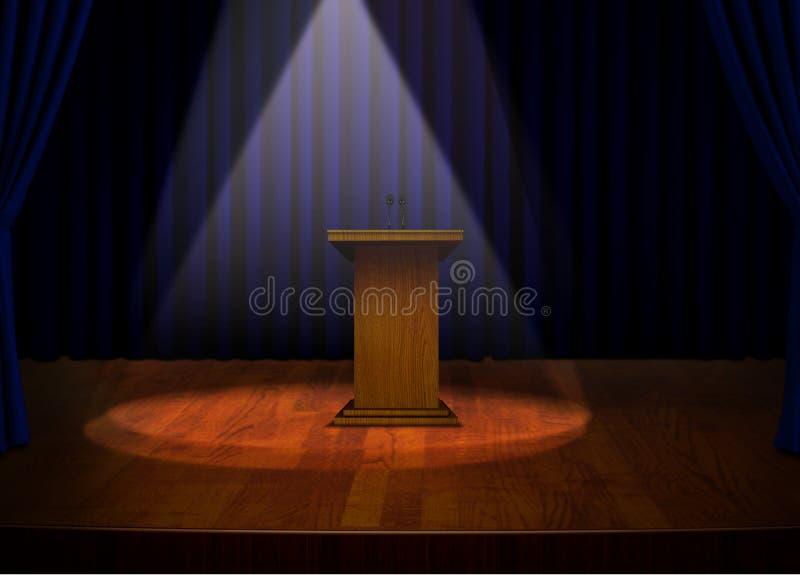 Podium på etapp med projektorljus royaltyfri illustrationer