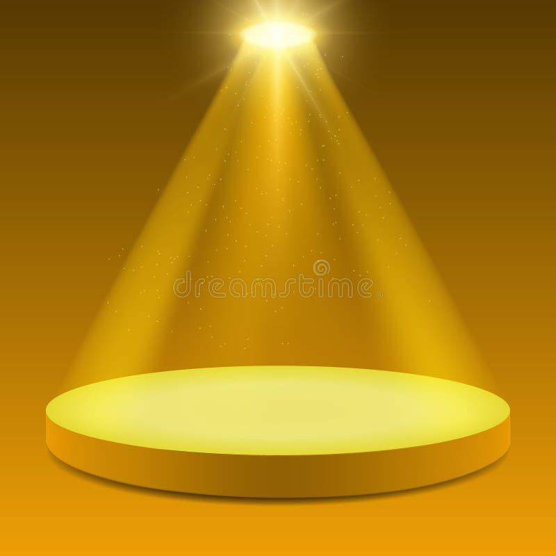 Podium på strålkastare med skinande och partiklar Upplyst design för bakgrund av den fläckljus och etappen royaltyfri illustrationer
