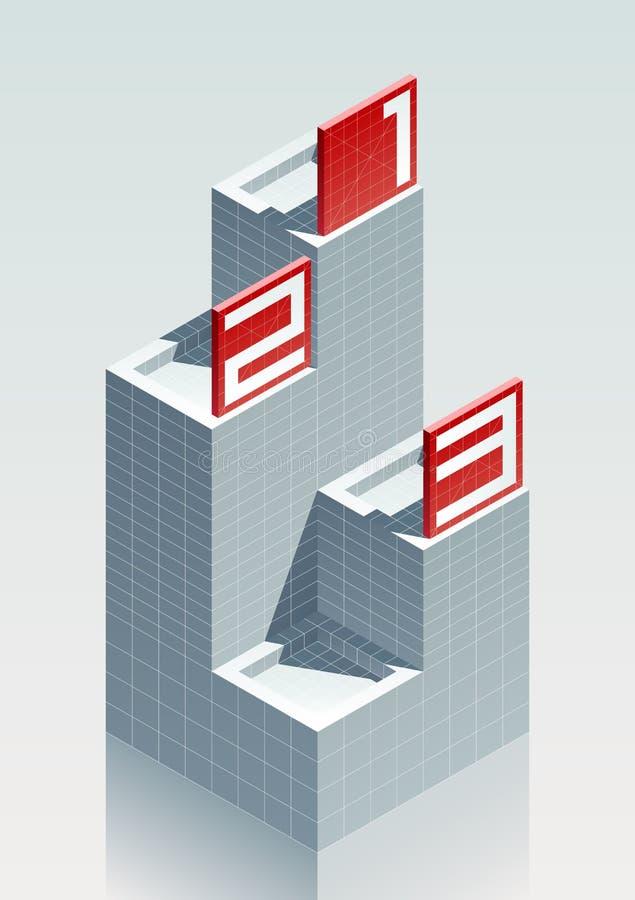 podium 123 réaliste de l'effet 3D avec les panneaux d'affichage rouges illustration stock