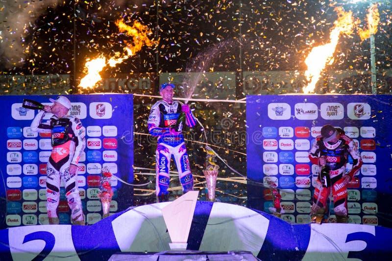 Podium of race. Celebrations of riders. From left - Joonas Kylmaekorpi, Grigorij Laguta, Emil Saifutdinov royalty free stock images