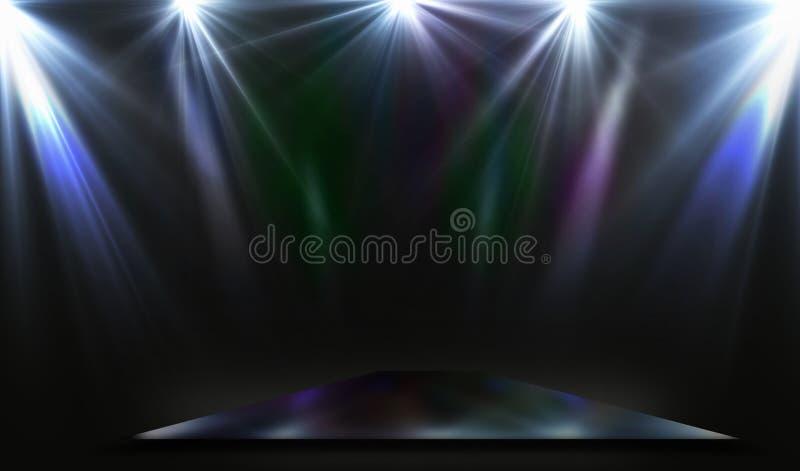 Podium rectangulaire vide de scène de miroir avec des projecteurs illustration stock
