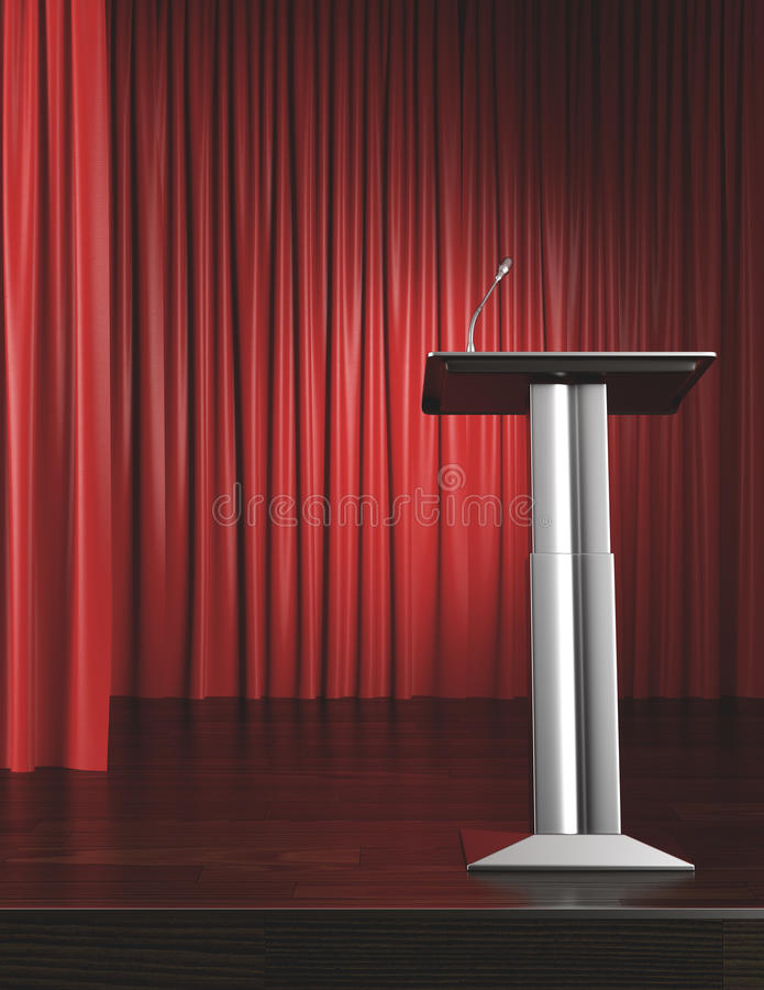 Podium and red curtain. 3d render royalty free stock images