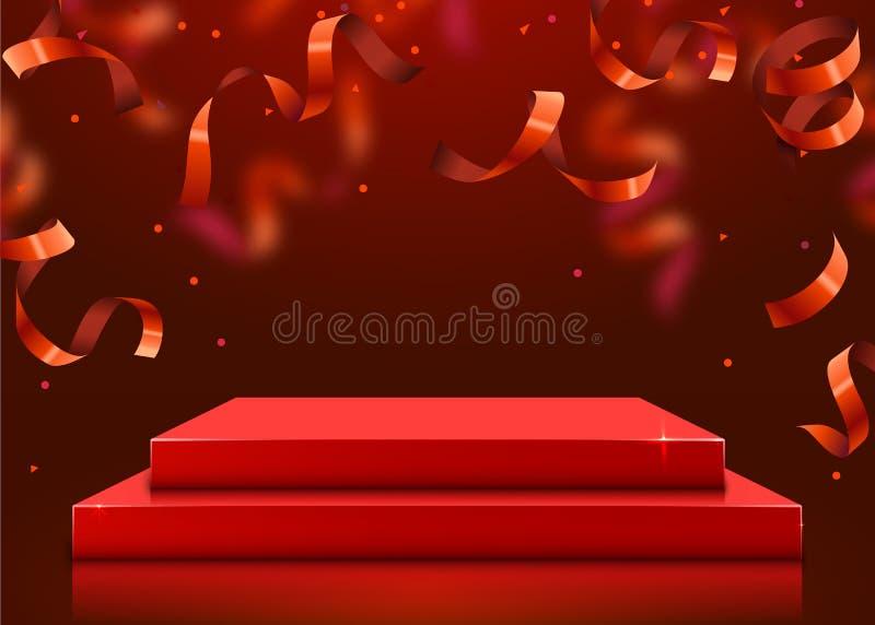 Podium rond abstrait illuminé avec le projecteur Concept de c?r?monie de remise des prix Contexte d'?tape illustration de vecteur