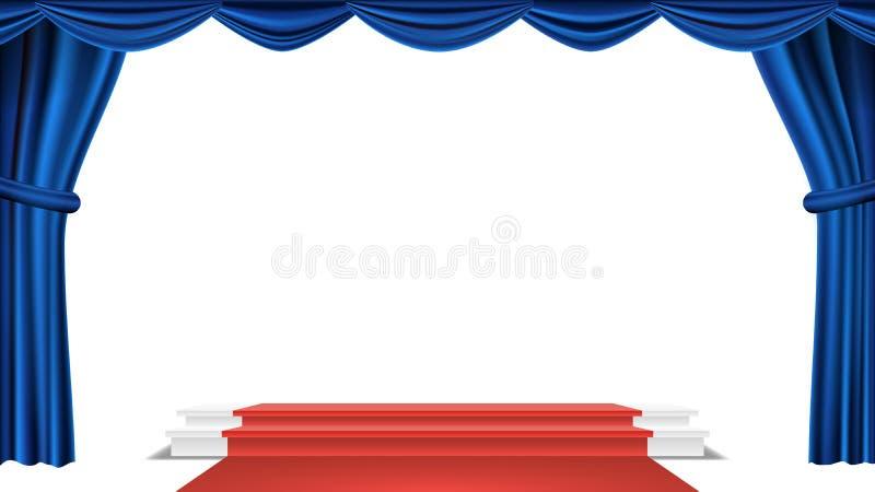 Podium sous le vecteur bleu de rideau en théâtre Récompense de cérémonie présentation Pupitre pour des gagnants Illustration d'is illustration de vecteur