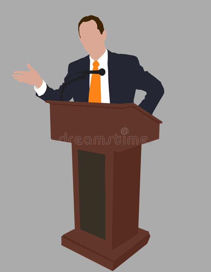 Young Politician Speaking Behind The Podium, Public Speaker ...