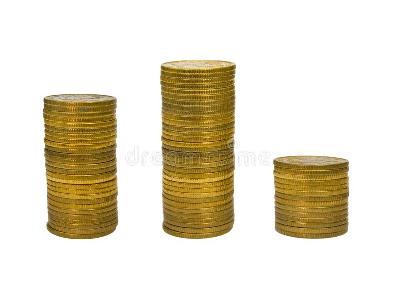 Podium from stacks of coins stock image