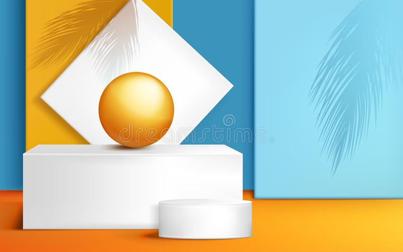 Podium, stage for product presentation with ball royalty free illustration