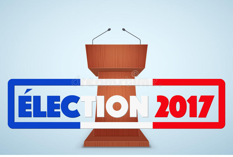 Podium-Tribüne mit französischem Wahl-Symbol lizenzfreie abbildung