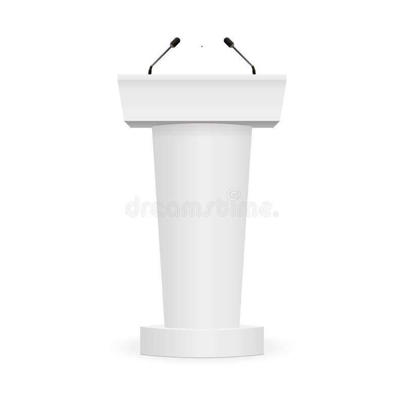 Podium-Tribüne-Podiums-Stand mit Mikrophonen stock abbildung